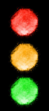 traffic lights on black background
