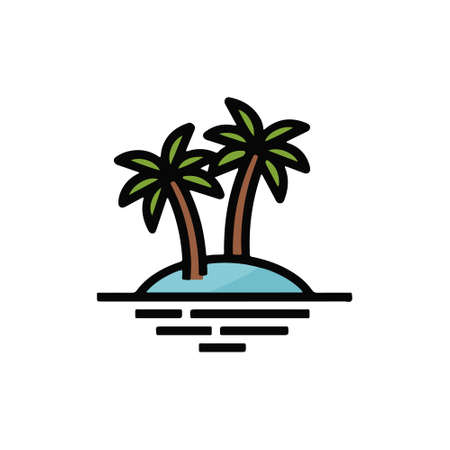 deserted island and palm trees vector design  イラスト・ベクター素材