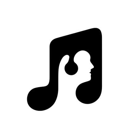 man listening music with headphones and musical note