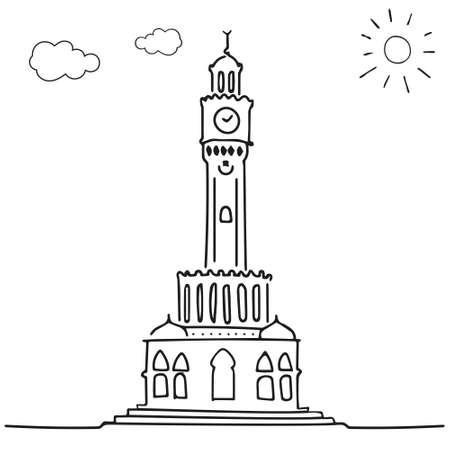 izmir clock tower drawing Vettoriali