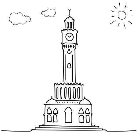 izmir clock tower drawing Vettoriali