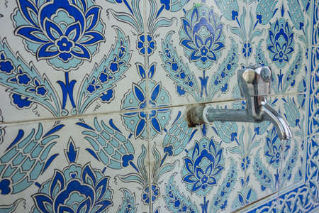 old historic tiled fountain