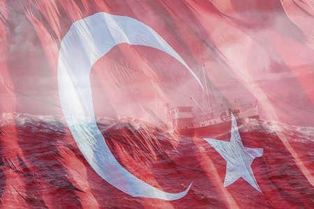 Turkish flag waving and the bandrma ship