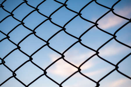blue sky and wire fences Stock Photo