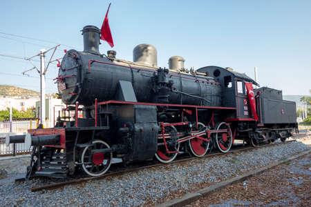 old historic black locomotive Editorial