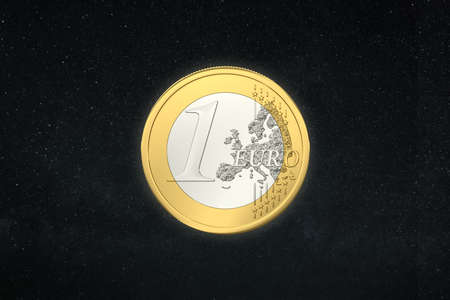one euro in the deep space Stock Photo