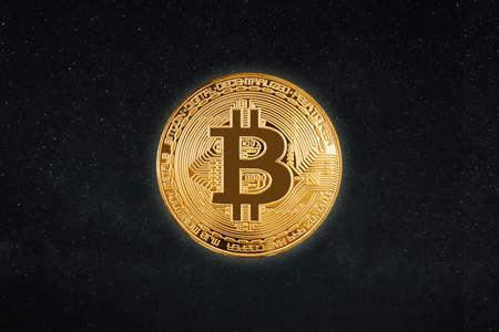 Bitcoin isolated on black Stock Photo