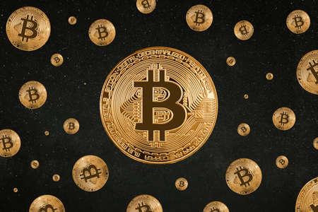 Seamless pattern of Bitcoin on black