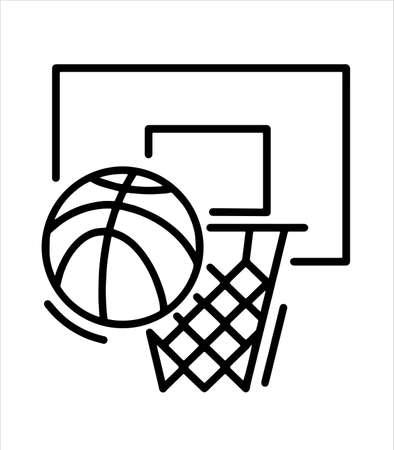 basketball hoop and basketball icon Illustration