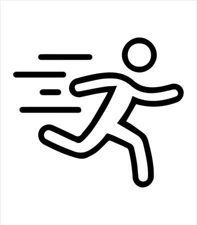 running man icon and emergency exit Illustration