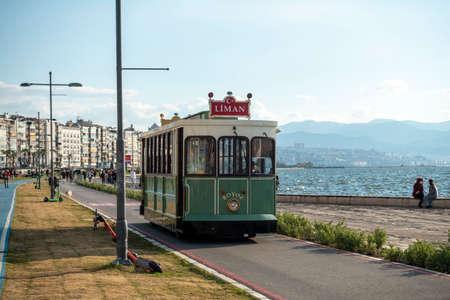 Access to historical tram on the Izmir beach