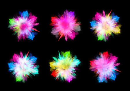 colorful explosions and black background Stock Photo