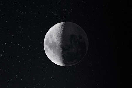 deep space and moon image Stock Photo