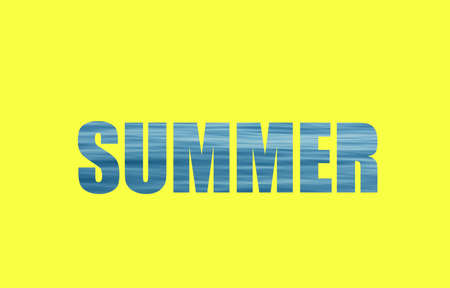 Text Summer written with blue sea waves and yellow background 版權商用圖片