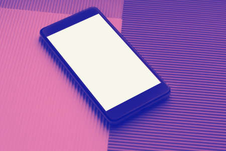 Top view mockup smartphone against trendy multicolor background. Minimal flat lay style. Duotone trendy effect.