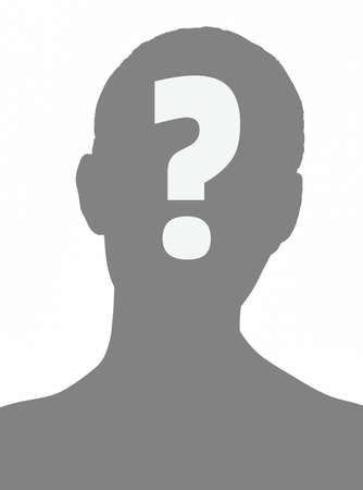 Anonymous person grey silhouette with a question mark on white background. Concept of unknown person in web.