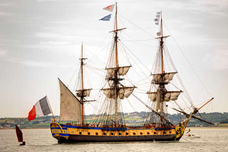 frigate: Douarnenez, France - July 19, 2016. French light frigate Hermione replica in the harbor for the maritime festival