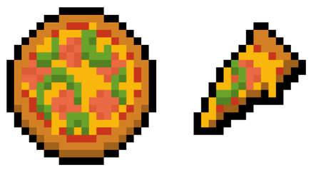 Pixel pizza and slice (vector, isolated)