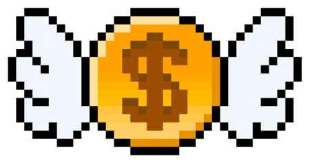 Dollar coin with wings - isolated, vector Vektoros illusztráció