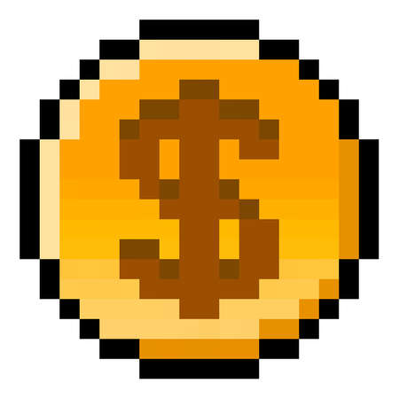 Pixel US Dollar coin - isolated, vector