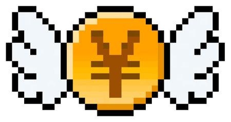 Pixel Yen, Yuan or Renminbi coin with wings