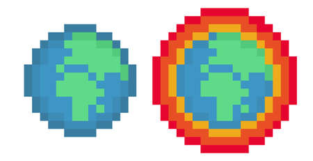 Pixel earth and global warming earth pack - vector, isolated