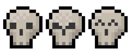 Pixel halloween or gaming skull pack - vector, isolated Vektoros illusztráció