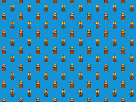 Pixel housing coin from gaming block - high res seamless pattern