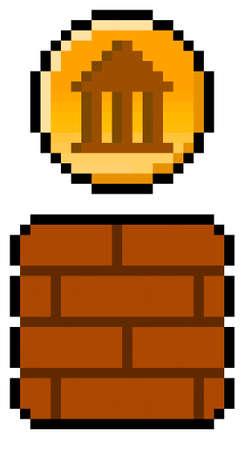 Pixel 8 bit government coin from gaming block - vector, isolated Vektoros illusztráció