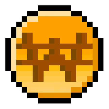 Pixel 8 bit South Korean Won coin - vector, isolated