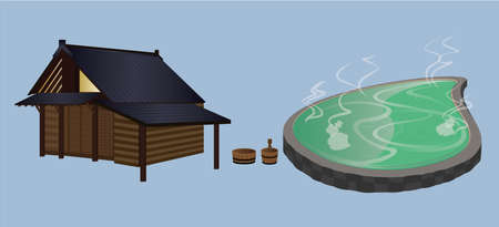 steam bath: Panorama Onsen   Relaxing with Ourdoor Japanese Onsen Illustration