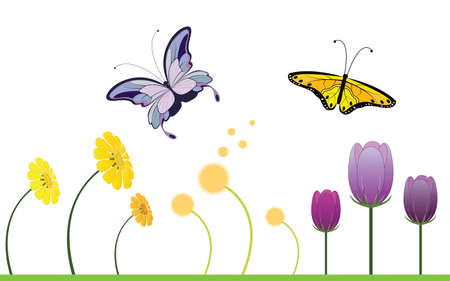 Colorful Spring Flowers and Butterfly Vector