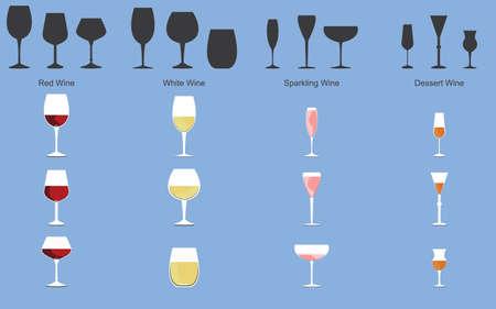 Types of Wine and Glasses Stock Illustratie
