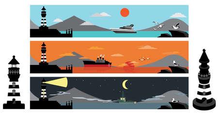 Conjunto de faro paisaje de la puesta del sol de día y de noche Ilustración de vector