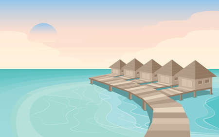 Your dream destination of travel is Maldives island Illustration