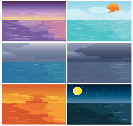 Set of Time of Sky Sea and Ocean dawn day cloudy raining sunset night Vector