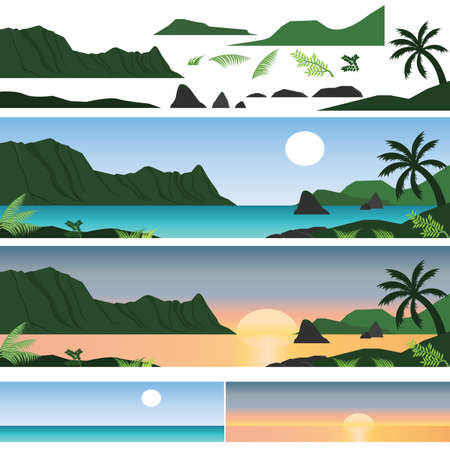 tropical beach panoramic: Set of Hawaii Island and beach with sunshine and sunset Illustration