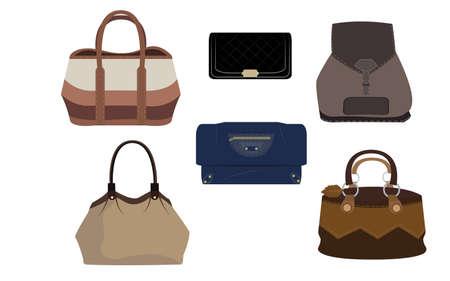 Set of many luxury fashion handbag Illustration