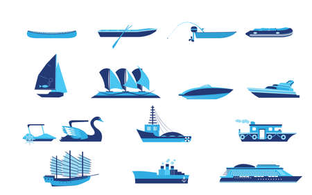 Types of boat and Ship Transportation  Vector