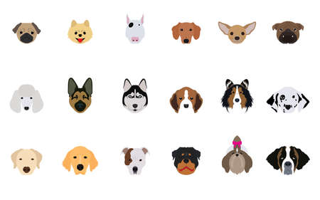 Set of Head Dogs Vector