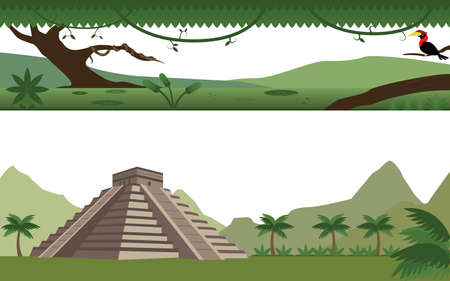 mesoamerican: Set of Rain Forest  River and Aztec Pyramid Landscape Illustration