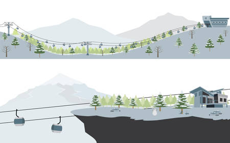ski slope: Set of Ski Resort and Snow Mountain landscape