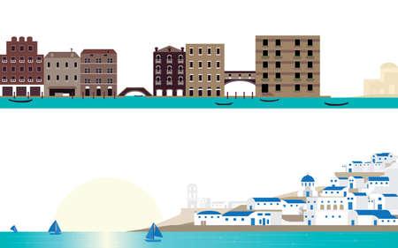 famous place: The Destination Scene Famous Place Venice and Santorini Landscape