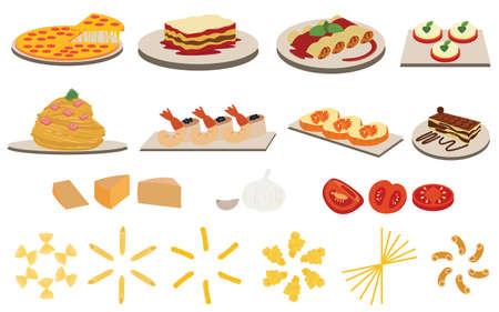 italian cuisine: Set of Italian Cuisine Menu vectors