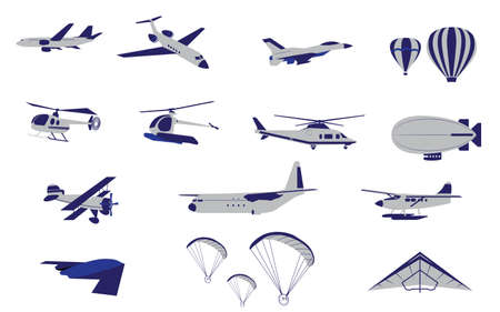 Set of Plane Helicopter and Air Transportation vectors and icons Vector