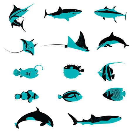 Set of many Fish Underwater Aquatic Shell Animals and Creatures icons Vector