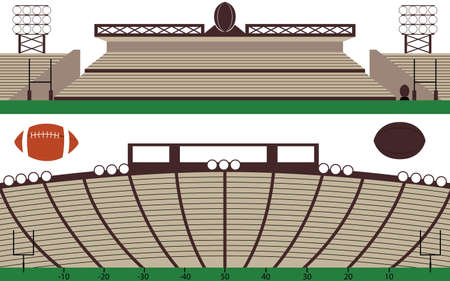 Set of American Football Stadium and Rugby field Landscape vectors