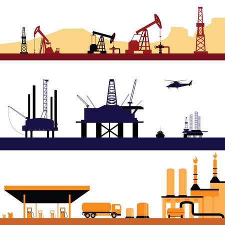 gas station: Set of Oil and Gas Energy Industry Landscape vectors