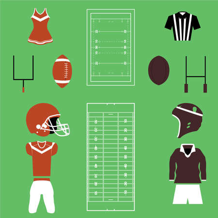 bleachers: Set of Many American Football And Rugby Icons and Vectors Illustration