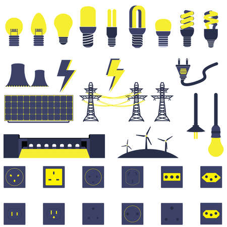 Set of Many Electric Power Energy Icons Vector